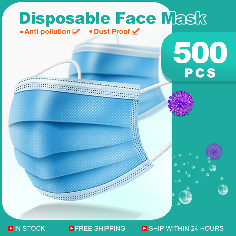 500PCS Mask Disposable Nonwove 3 Layer Ply Filter Mask Mouth Face Mask Filter Safe Breathable Dustproof Protective Masks