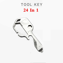 24-in-1 Keychain Multi-function portable Key Tool Versatile Outdoor Mini Bottle Tool Stainless Steel Screwdriver Bottle Opener 1366 multi in 1 outdoor portable stainless steel pliers 9 screwdriver bits blue silver