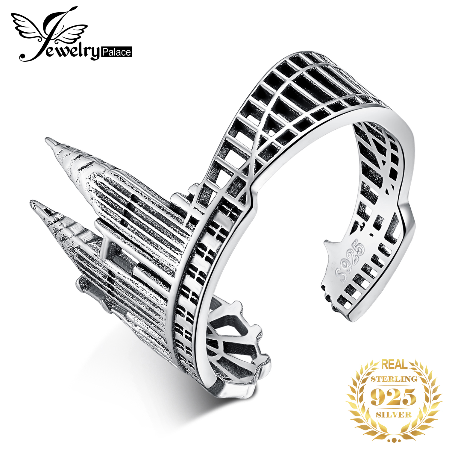 JewelryPalace Twin Towers Rings 925 Sterling Silver Rings For Women Open Stackable Ring Band Silver 925 Jewelry Fine Jewelry