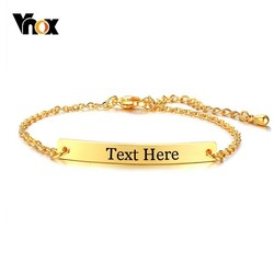 Vnox Free Engraving Thin ID Tag Bracelets for Women Stainless Steel Link Chain Wrist pulsera 6.89 inch to 8.66 inch
