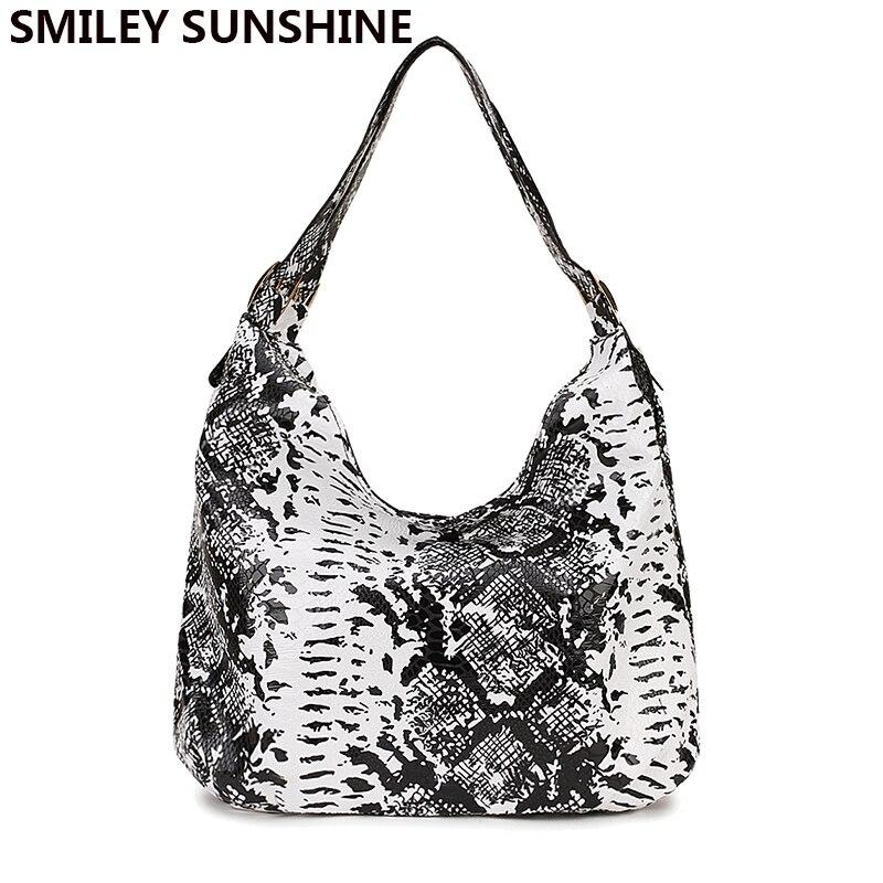 SMILEY SUNSHINE Snake Print Women Bags Female Black Leather Handbag Purses Ladies Shoulder Bag Big Crossbody Bags For Women 2019