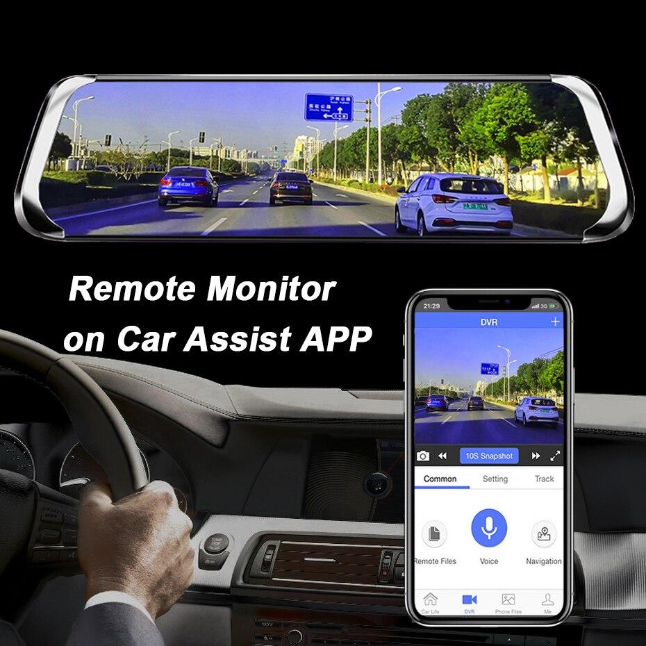 WHEXUNE 10 дюймов Автомобильное зеркало заднего вида DVR 4G ADAS Android gps навигация видеорегистратор Двойной объектив FHD 1080P автомобильная видеокамера... - 5
