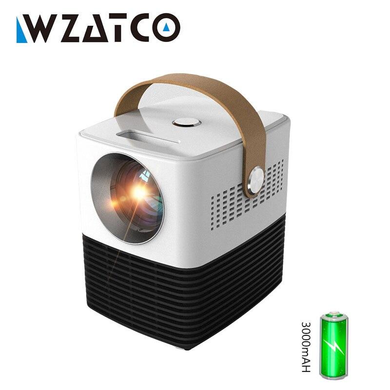 WZATCO V1 светодиодный мини карманный проектор для домашнего кинотеатра с HDMI USB видеосъемкой Android 6,0 с цифровой коррекцией Keystone