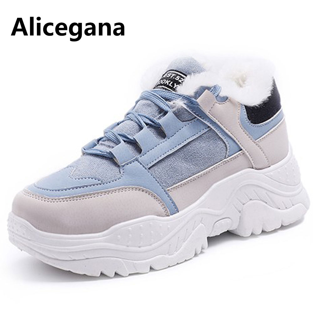 Winter Warm Women Sneakers Casual Shoes 2019 New Plush Female Fur Casual Sneakers Faux Suede Leather Platform Shoes