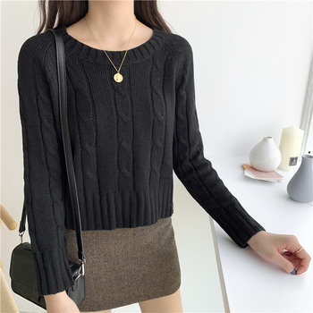 Ailegogo New 2020 Winter Women's Crop Top Sweaters Tops Fashionable Korean Style Knitting Casual Solid Pullover O-neck 5