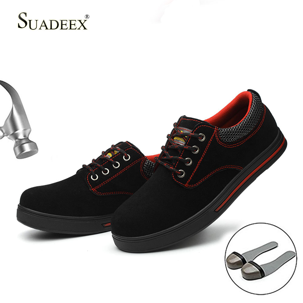 SUADEEX Men's Safety Shoes Steel Toe Construction Protective Footwear Lightweight Shockproof Work Sneaker Shoes For Men Women