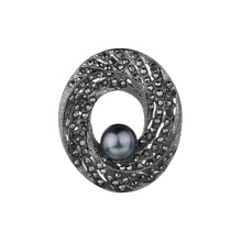 Gariton Black Gun Plated Simulated Pearl Brooch Pins Vintage Rhinestones Round Brooches for Women Gift