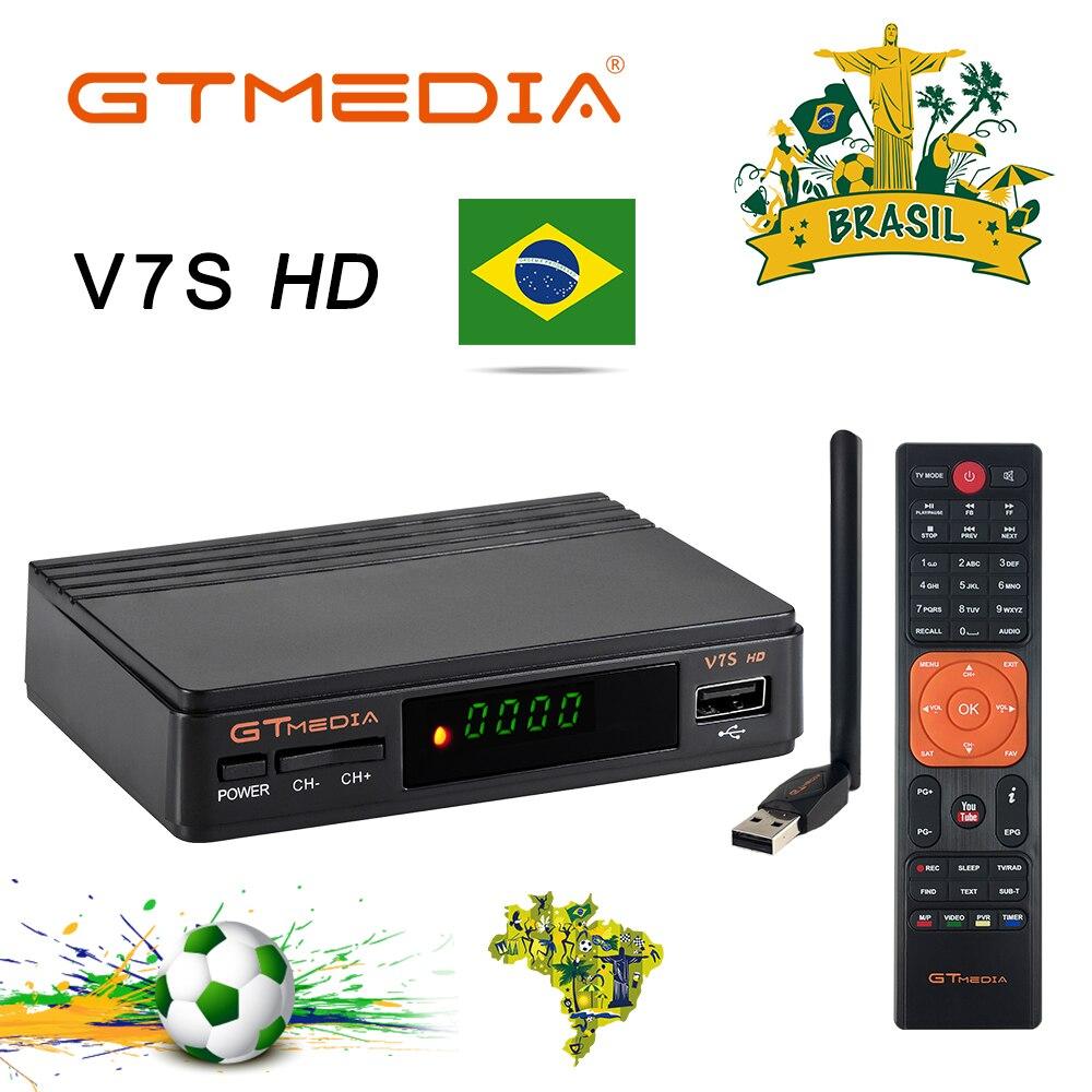 Gtmedia v7s hd DVB-S2 1080 p receptor de satélite + usb wifi suporte cccam newcam cs portugal espanha brasil tv sintonizador decodificador pk v7 hd