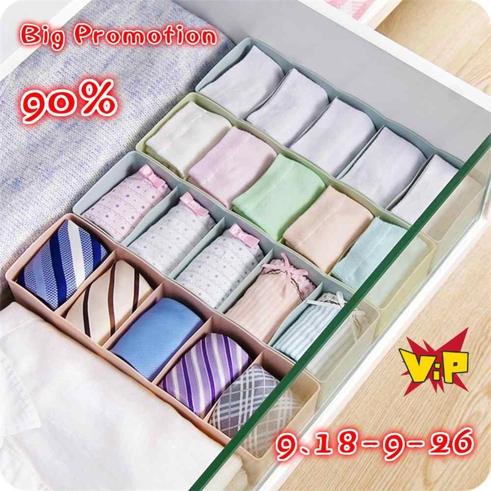 5 Grids Drawer Storage Box Socks Underwear Tie Bra Lingerie Organizer Cosmetic Home Daily Creative  Organizer Cases Jewelry