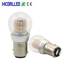 цена на Mcdrlled 2PCS P21/5W 1157 Car LED DRL Daytime Running Light Motorcycle LED Turn Signal Lamp White Yellow Red 12V Auto Led Source