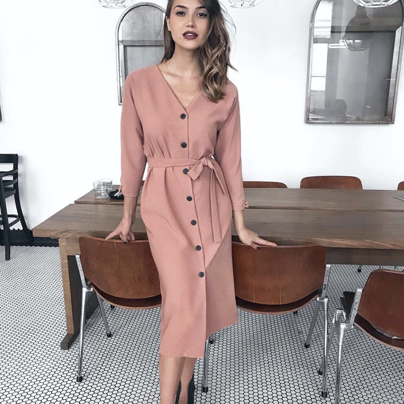 Women Casual Button Sashes <font><b>Dress</b></font> <font><b>Long</b></font> Sleeve <font><b>Sexy</b></font> V neck Solid A-line Party <font><b>Dress</b></font> 2019 Vintage Fashion <font><b>Elegant</b></font> Midi Length <font><b>Dress</b></font> image
