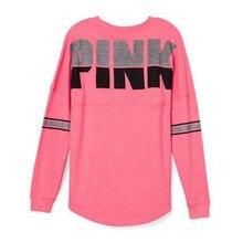 Новинка, Брендовые женские футболки, повседневные, с буквенным принтом, розовая футболка, свободная, модная, футболка, женская, с длинным рукавом, уличная одежда