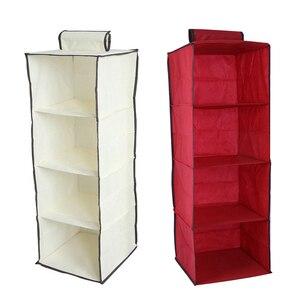 4 Tier Cotton Organizer Clothes Storage Wardrobe Hanging Pocket Drawer Home Organization Clothing Accessories Supplies 1PCS