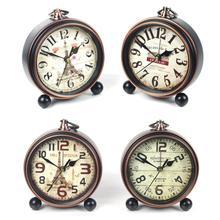 Retro Vintage Luxury Iron Clock Silent Battery Operated Desk Clock Table Clock Antique Office Home Living Room Decoration tanie tanio Zegary biurkowe circular Metal Igła 21045603 Luminova Cyfrowy