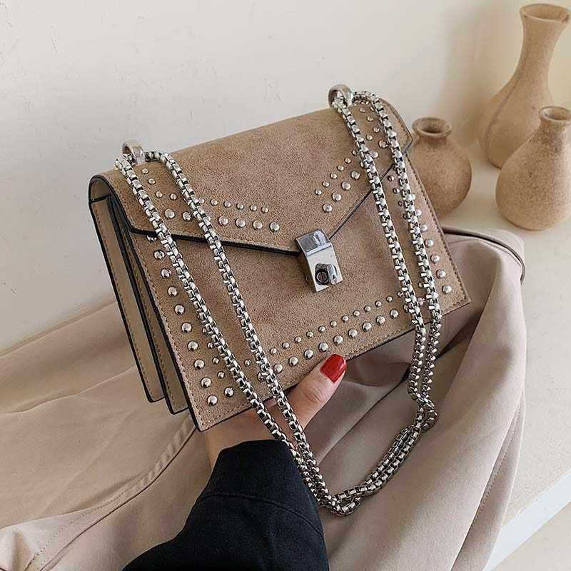 فرك الجلود حقائب كتف متنقلة صغيرة للنساء 2019 سلسلة برشام قفل حقيبة كروسبودي حقائب سفر صغيرة الإناث