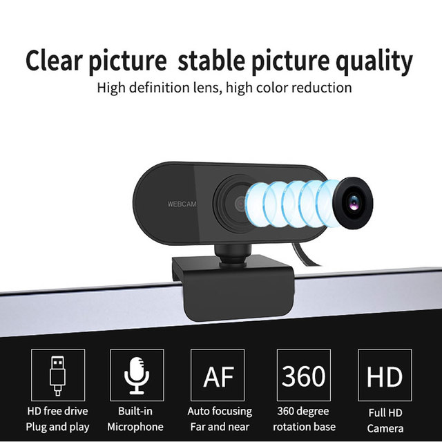 HD 1080P Webcam Mini Computer PC WebCamera with Microphone Rotatable Cameras for Live Broadcast Video Calling Conference Work 2
