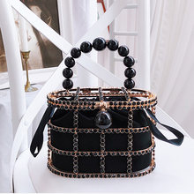 Diamonds Basket Evening Clutch Bags Women 2019 Hollow Out Beaded Alloy Metallic Cage Handbags And Purses Ladies Dinner Fashion(China)