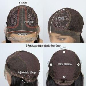 Image 5 - 13 × 6深部レースフロント人間の髪かつら事前摘み取らブラジルのremyストレートショートボブ2 × 6閉鎖かつら130密度自然な黒