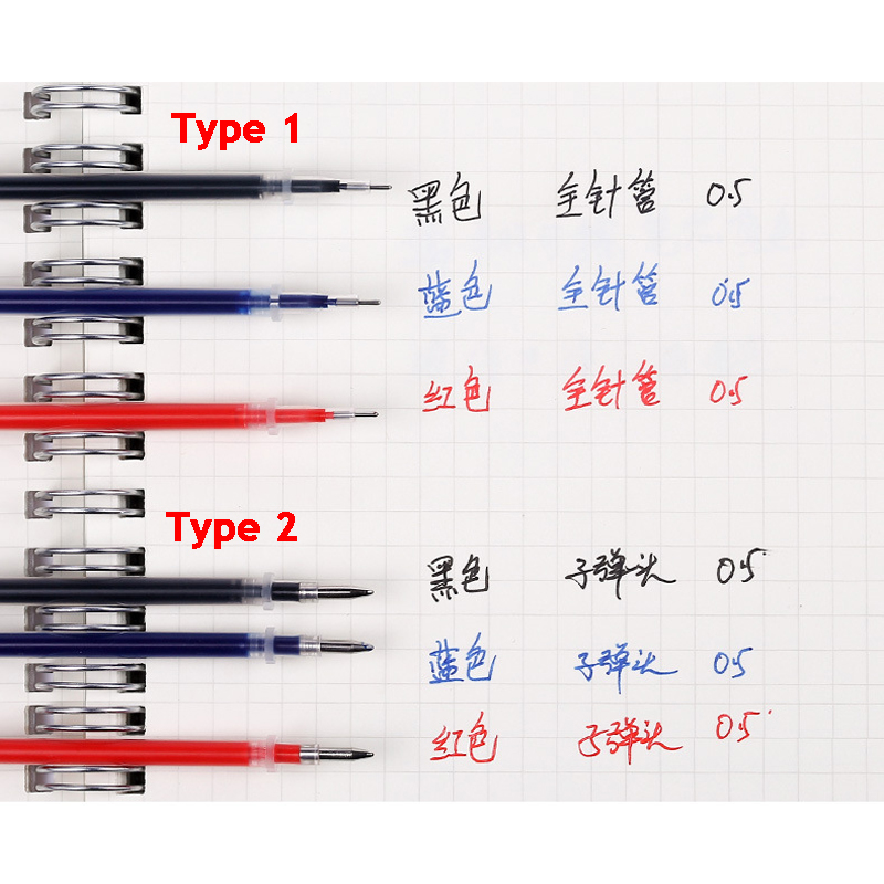 Type 2 <font><b>Gel</b></font> <font><b>Pen</b></font> <font><b>Refill</b></font> Office Signature Rods For Handles <font><b>0.5mm</b></font> Red Blue Black Ink <font><b>Refill</b></font> Office School Supplies 10pcs/lot image