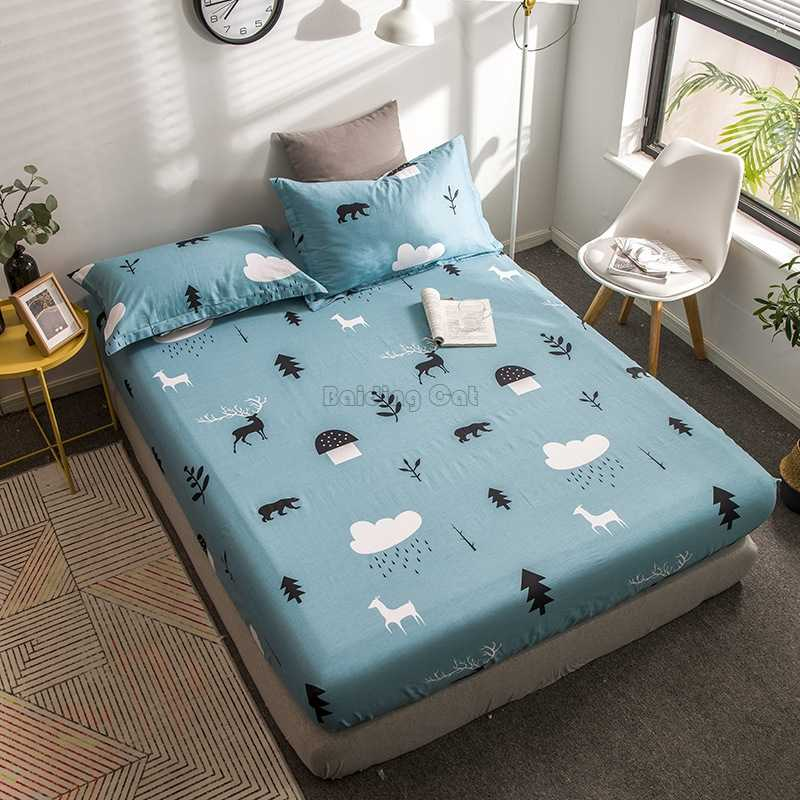 Ins Cartoon Animals Blue Elastic Band Bed Sheet 100% Cotton Bedding Sets 120cm*200cm,150cm*200cm,180cm*200cm Size Fitted Sheet