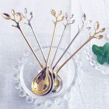 ملعقة قهوة صغيرة على شكل فرع رائعة عتيقة قطعة واحدة أدوات مائدة بنمط ملكي للوجبات الخفيفة ملعقة حلوى صغيرة للمطبخ والطعام