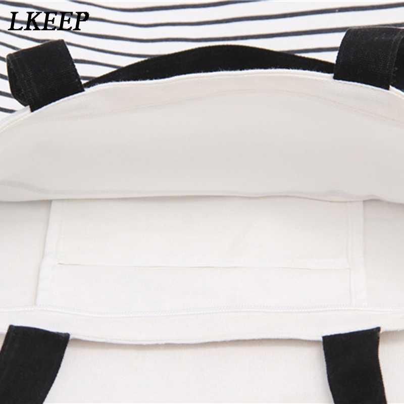 Novo algodão listra lona sacola de compras ombro bolsa de transporte eco reutilizável saco com zíper pequena sacola de compras
