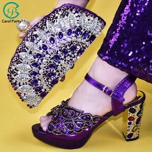 Image 2 - Senhoras sapatos e bolsas italianos para combinar conjunto decorado com apliques senhoras sapatos com saltos nigerianos sapatos de casamento feminino bombas