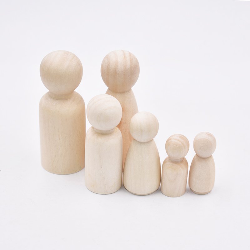 1pcs Creative Toy Wood People Manual Painting Dolls Crafts Graffiti Woodman Solid Hard Different Size Children Kids