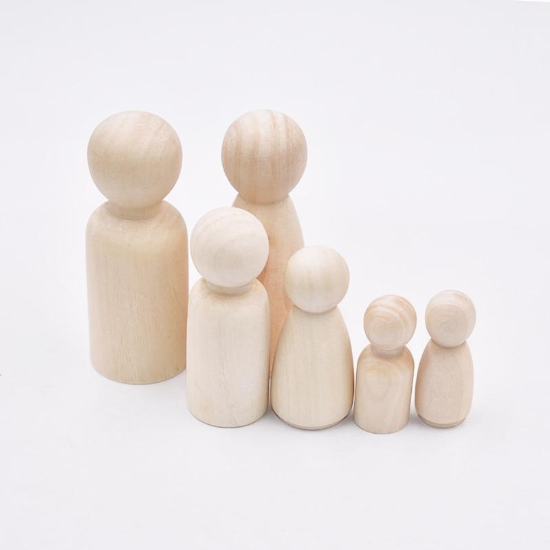 1pcs Creative Toy Wood People Manual Painting Dolls Crafts Graffiti Woodman Solid Hard Different Size Children Kids