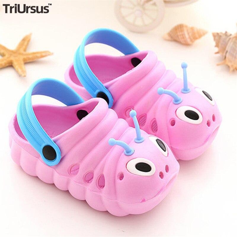 Cute Baby Boys Girls Soft Sandals Cartoon Toddler Kids Crocs Shoes Summer Flat-Sandas Caterpillar Slippers Outdoor Hole Shoes