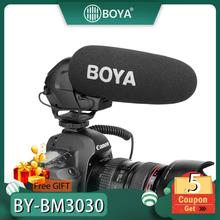 BOYA BY-BM3030 Microphone Shoutgun Microphone On Camera 3.5mm Hypercardioid Video Mic Interview ENG for Canon Nikon DSLR Cameras boya by m1 m1dm by mm1 dual omni directional lavalier microphone short gun video mic for canon nikon iphone smartphones camera