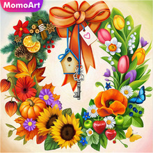 MomoArt 5D Damond Painting Flowers Full Drill Square Rhinestones Diamond Embroidery Wreath Cross Stitch Home Decoration