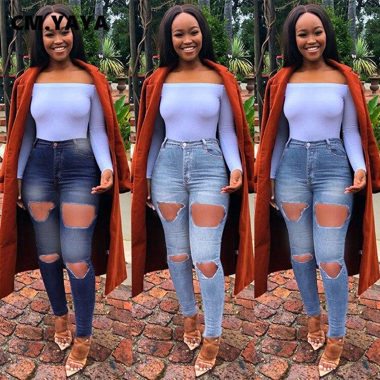 CM YAYA Reguilar tamaño S-3XL completo longitud alta cintura cremallera pantalones de pitillo vaqueros Skinny elástico agujero mujeres Jeans primavera otoño