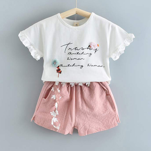 Set Pakaian Lengan Pendek dan Celana Pendek Anak Perempuan 3