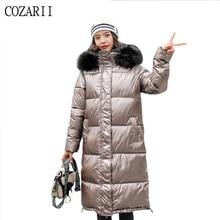 2019 Winter Jacket Women Long Glossy Down Cotton Padded 4 Colors Bright Shiny Warm Thick Parka long jacket coat Female Coats