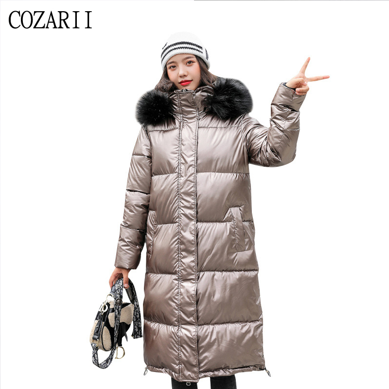 2019 hiver veste femmes longue brillante vers le bas coton rembourré 4 couleurs brillant brillant chaud épais Parka longue veste manteau femme manteaux