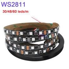 Dc12v 5m ws2811 pixel led tira luz; endereçável 30/48/60leds/m, cor completa, ws2811 ic 5050 rgb led fita da lâmpada