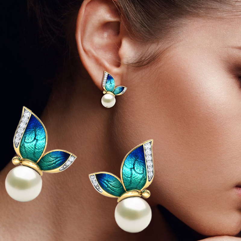 Modern Women Earrings 2019 Fashion Oil Painted Butterfly Design Rhinestone Pearl Stud Earrings For Women Accessories Jewelry