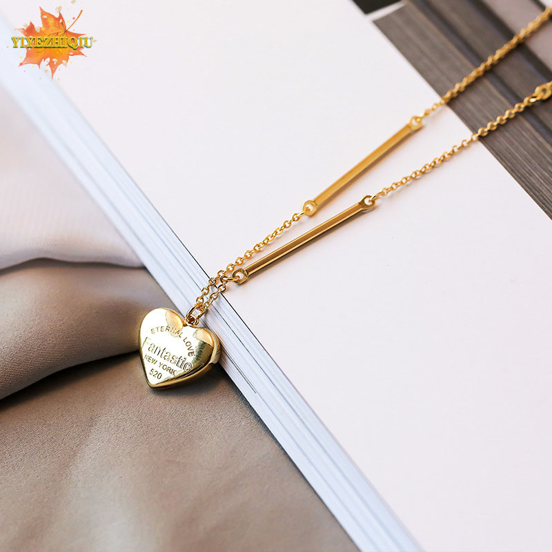Women Necklaces Hot Beauty Charm Women Stainless Steel Heart Pendant Chain Necklace ladies girl Round choker collar ribbon gold