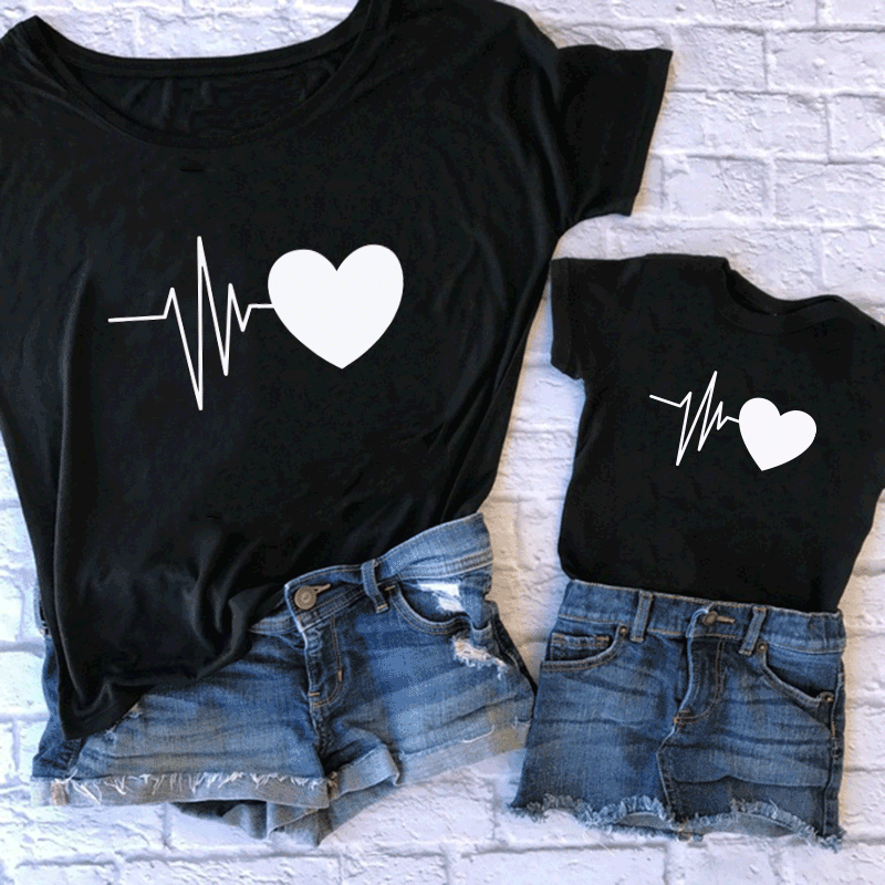Fashion Family Matching Clothes Mommy And Me T Shirt Mother And Daughter Family Clothes Mom Print T-shirt Kids Baby Girl Clothes