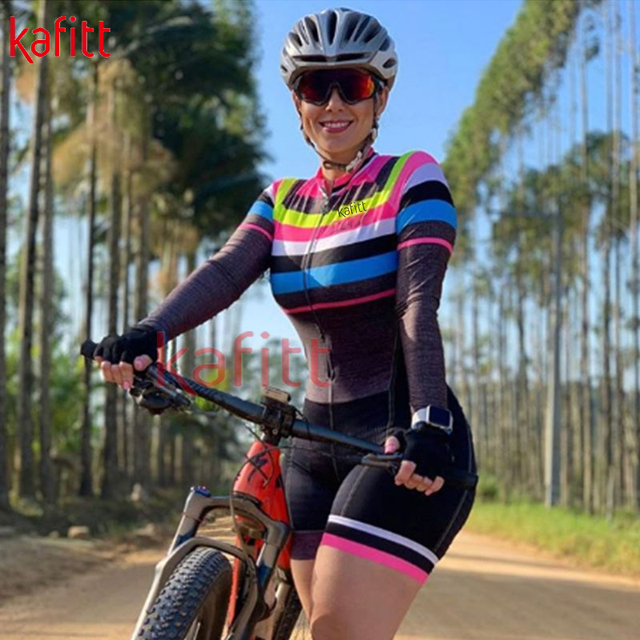 kafitt Triathlon Cycling Suit Fato Pro Cycling Captain manga comprida Maillot Ciclismo Ladies Summer respirável collant casual wear 5