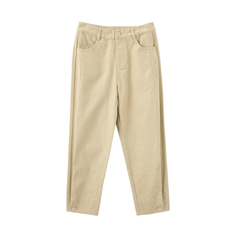 Image 5 - INMAN 2020 Spring New Arrival Literary Pure Color High Waist Button Leg Opening Nine cent Turnip Women PantPants & Capris   -