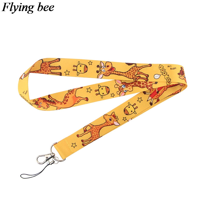 Flyingbee Animal Giraffe Keychain Cartoon Cute Phone Lanyard Women Fashion Strap Neck Lanyards For ID Card Phone Keys X0719