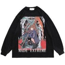 Rétro diable combattant imprimer hommes vêtements ample à manches longues T-shirt surdimensionné printemps Hip hop Harajuku haute rue style japonais