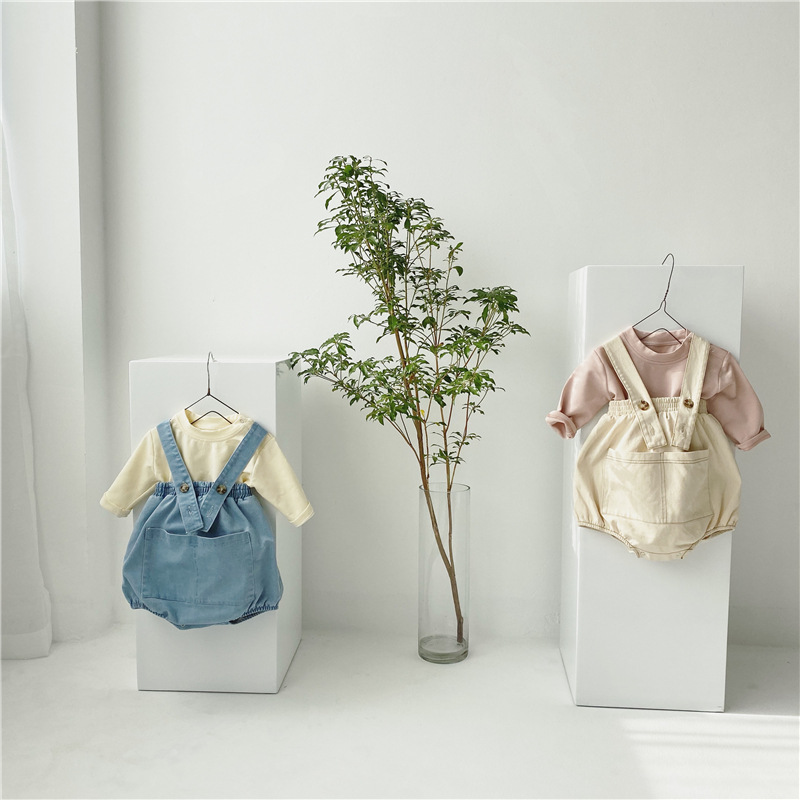 MILANCEL  Korean New Baby Clothes Set Solid Blouse And Pocket Bodysuits 2 Pcs Baby Boys Girls Clothing Set