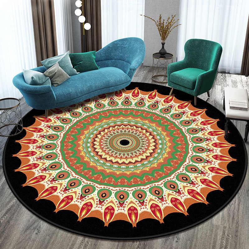 라운드 카펫 3D 인쇄 만다라 카펫 깔개 침실 침대 옆 욕실 컴퓨터 의자 Antislip 매트 바닥 매트 로맨틱 홈 장식