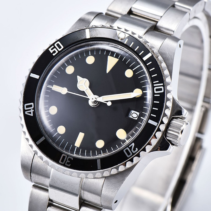 Automatic Mechanical Watch Men  39.5mm black Sterile Dial black Aluminum Sheet Bezel Retro Luminous watch 05