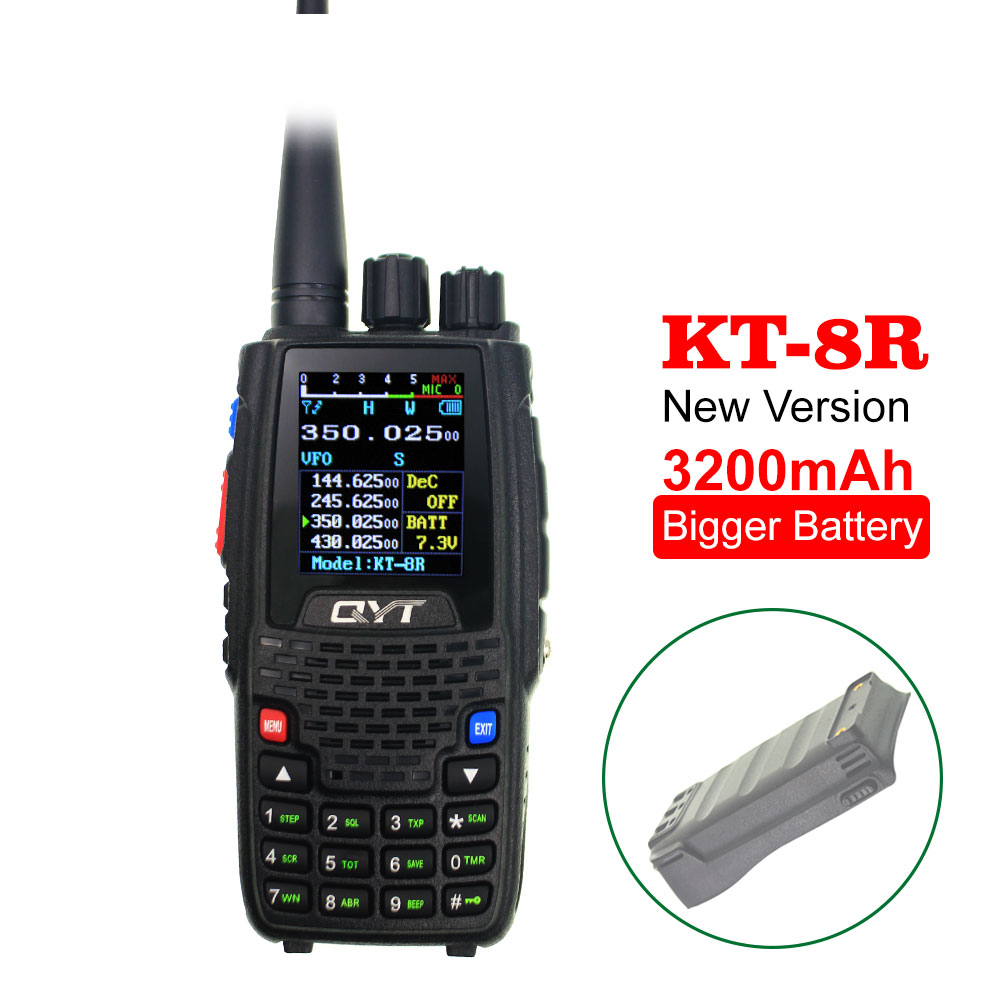 QYT Quad Band Walkie Talkie UHF VHF 136-147Mhz 400-470mhz 220-270mhz 350-390mhz 4 Band 3200mAh Two Way Ham Transceiver KT-8R