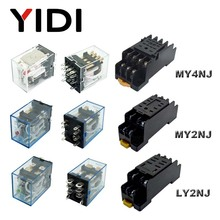 цена на MY2NJ MY4NJ 5A General Coil Relay DPDT 4NO 4NC DC 12v 24v LY2NJ 10A LED Indicator Power Relays AC 110v 220v Din Rail Socket