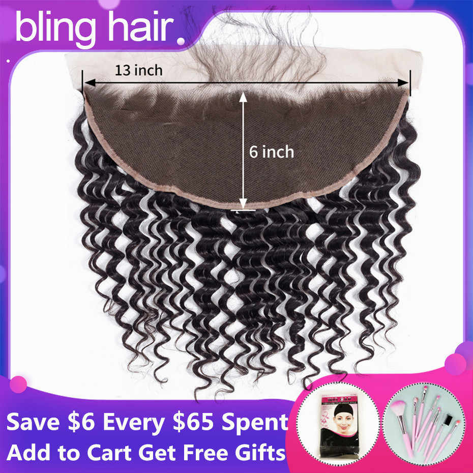 bling hair Deep Wave 13x6 Lace Frontal Closure Pre-plucked Brazilian Remy 13x4 Human Hair Closure With Baby Hair Natural Color